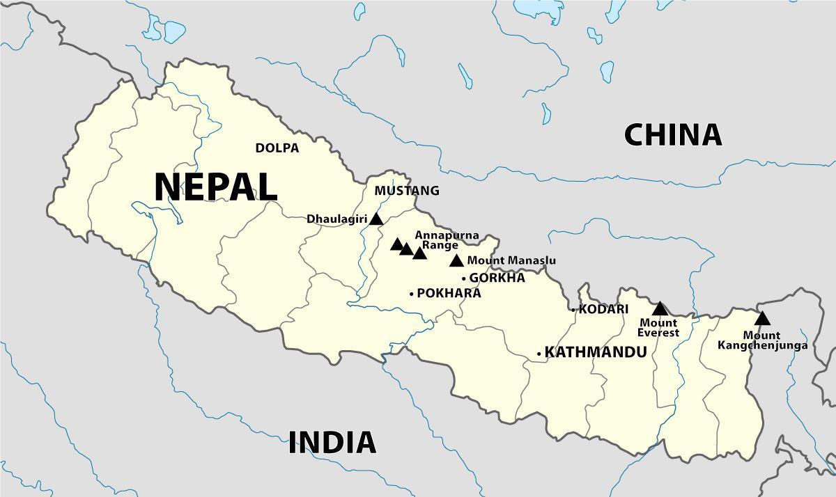 Nepalin Himalajalla Kartta Kartta Nepalin Himalajalla Etela